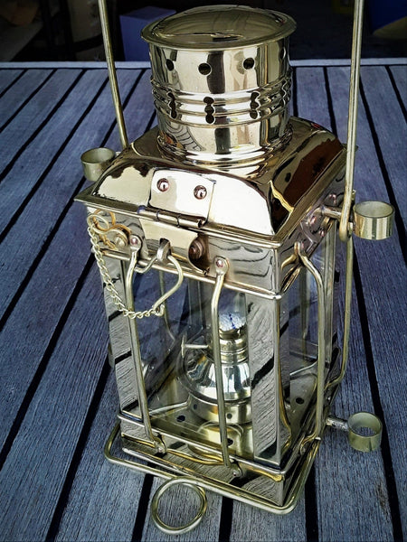 EITC Brass Cargo Lamp on Teak Deck