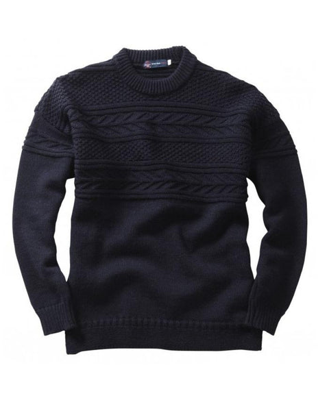 Guernsey Sweater NAVY Pure British Wool