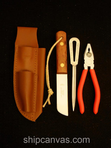 Captain Currey 3-Piece Rigging Knife Set with Sheath + Marlinspike at SHIPCANVAS.COM