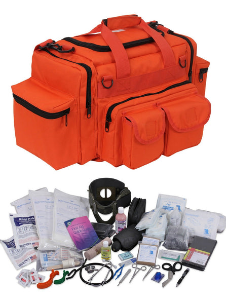 Marine Safety & First Aid - EMT Trauma Kit w/ Orange Bag