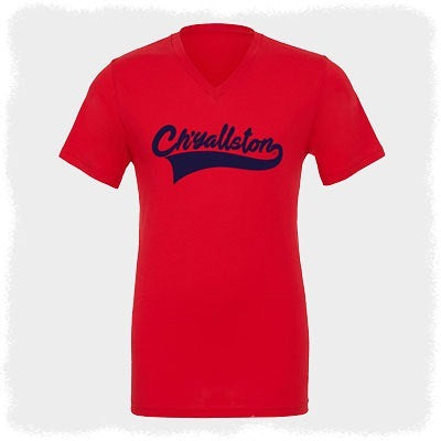 Ch'yallston Baseball V-Neck Red/Navy Logo T-Shirt