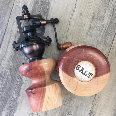 Hand Made Pepper Mill & Salt Cellar (Sold Separately)
