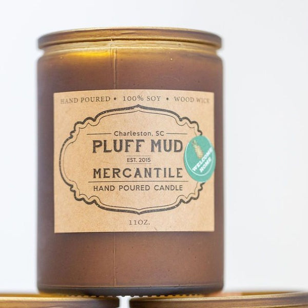 """Welcome Home"" Hand Poured Soy Candle - Pluff Mud Mercantile"
