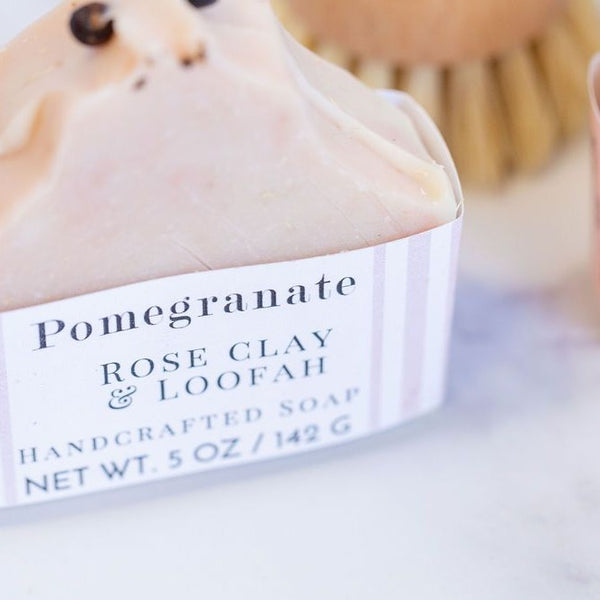 Pomegranate Loofah Rose Clay Handcrafted Soap - Pluff Mud Mercantile