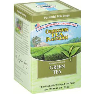 Charleston Tea Plantation Green Tea Pyramid Style Tea Bags Box of 12 - Pluff Mud Mercantile