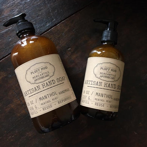 Natural Liquid Hand Soap - MANTHOL Menthol Mint - Pluff Mud Mercantile