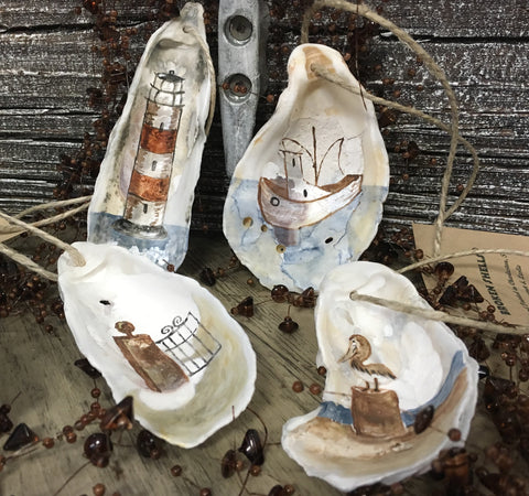 Hand Painted Oyster Shell Ornaments - Pluff Mud Mercantile