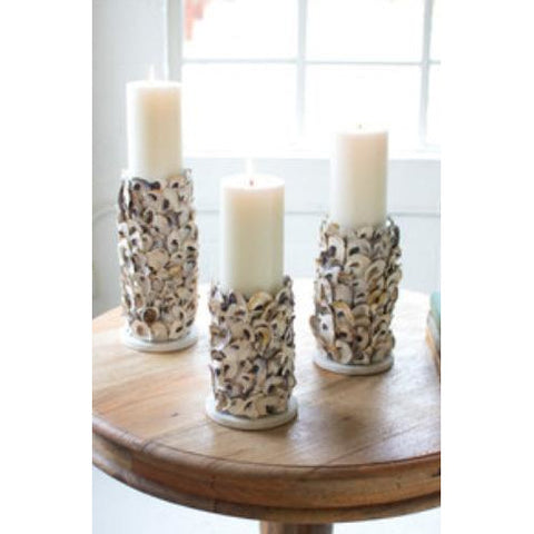 Set of 3 Oyster Shell Pillar Candle Holders - Pluff Mud Mercantile