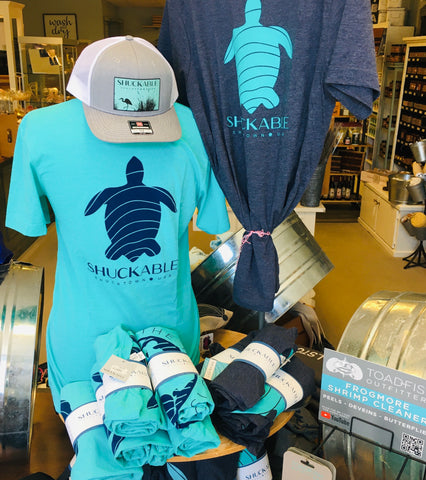 Turtle Turqouise with Blue Turtle - Shuckable T Shirt - Pluff Mud Mercantile