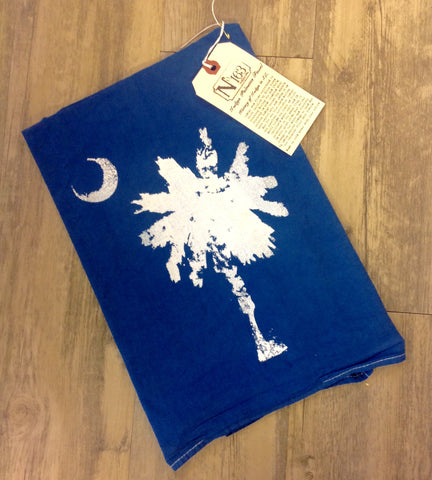 Palmetto Tree Hand Died Indigo Flour Sack Towel - Pluff Mud Mercantile