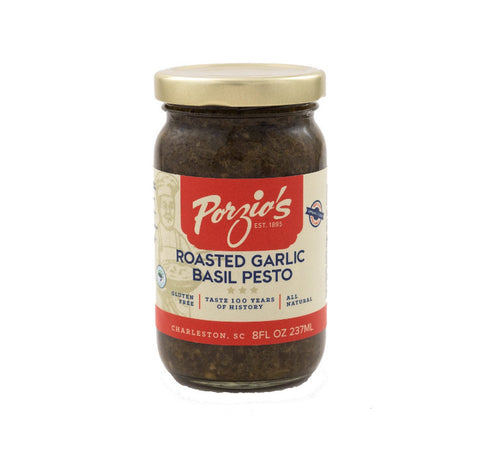 Porzio's Roasted Garlic Basil Pesto 8 oz. - Pluff Mud Mercantile