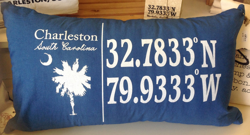 Charleston Longitude & Latitude Hand Died Indigo Pillow - Pluff Mud Mercantile