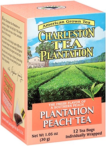Charleston Tea Plantation Peach Pyramid Style Tea Bags Box of 12 - Pluff Mud Mercantile