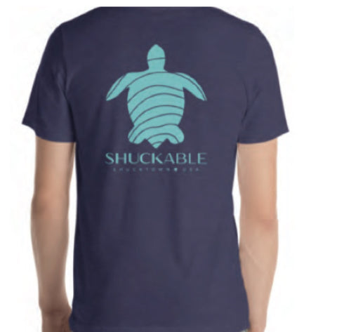 Turtle Heathered Blue with Turqouise- Shuckable T Shirt - Pluff Mud Mercantile