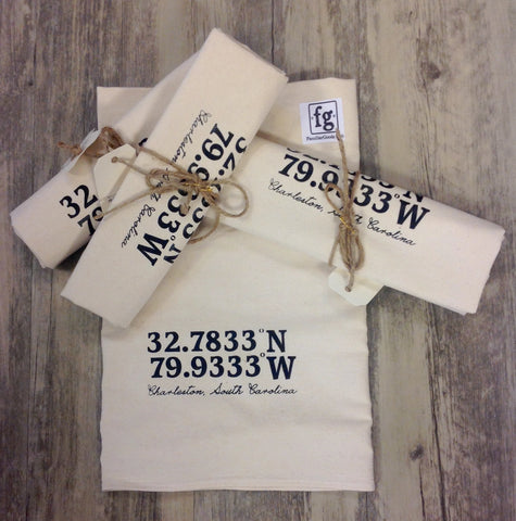 Charleston Longitude & Latitude Flour Sack Towel - Pluff Mud Mercantile