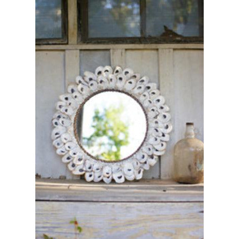 Large Oyster Shell Round Mirror - Pluff Mud Mercantile