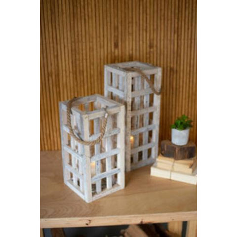 Set of two white washed tall square recycled wood candle towers with glass inserts - Pluff Mud Mercantile