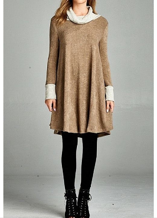 Cowl Neck Brown Dress