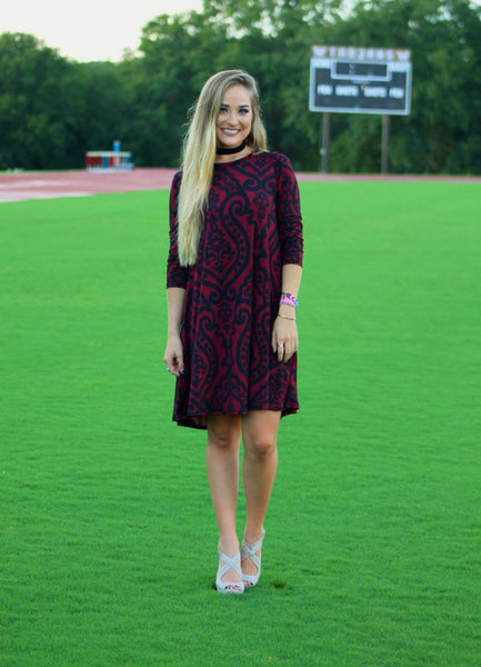 Burgundy Dress with Pockets S-XL