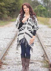 Geometrical Pattern Print Cardigan front