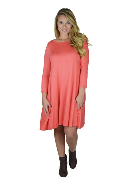 Coral Side Pocket Dress S-XL