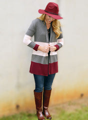 Grey Cardigan Pink Burgundy