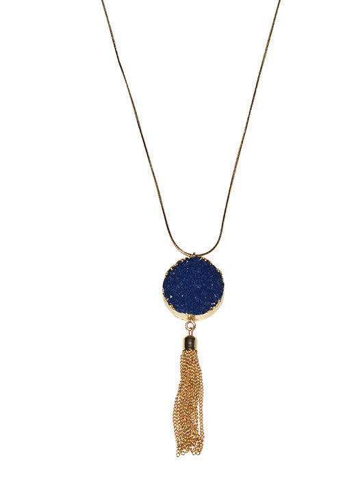 Blue Druzy with Tassel