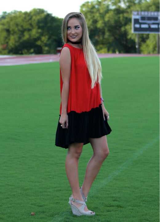 Red and Black Game Day Dress