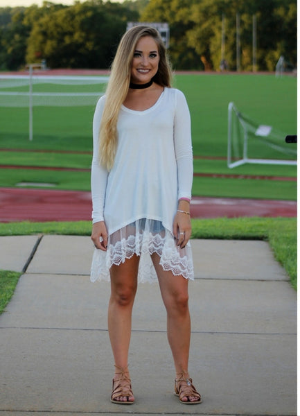 Lace Bottom White Tunic