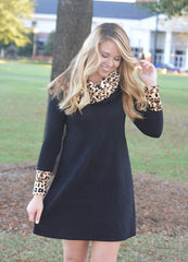 Leopard Print Cowl Neck Long Sleeve Dress 1