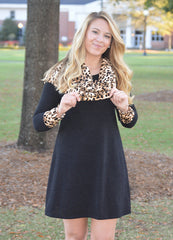 Leopard Print Cowl Neck Long Sleeve Dress