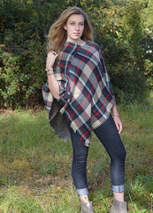 Reversible Plaid Poncho Ivory