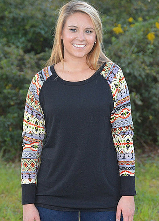 Black Top with Aztec Detail