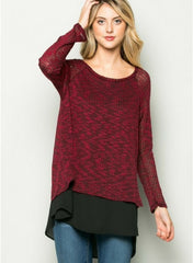 Burgundy and Black Blouse