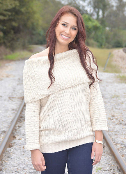 Off-Shoulder Cream Sweater