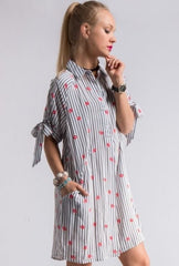 Lip Print Dress with Pockets