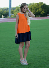 Orange and Navy Game Day Dress