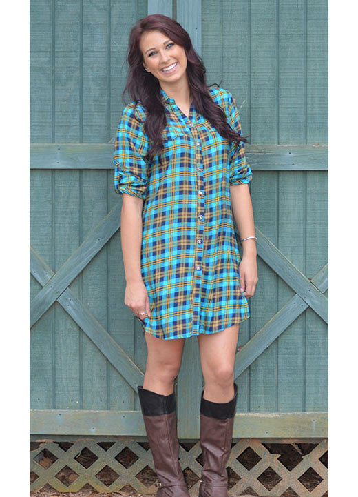 Sky Blue Plaid Shirt Dress