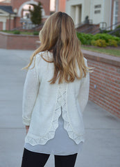 Detailed White Sweater