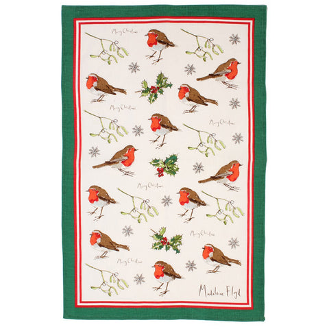 Madeleine Floyd Christmas Robins & Holly Linen Tea Towel by Ulster Weavers
