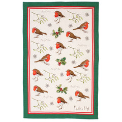 Ulster Weavers Madeleine Floyd Robins & Holly Festive Linen Tea Towel