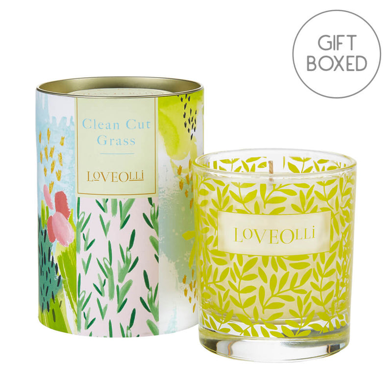 Ulster Weavers LoveOlli Glass Spring Scented Candle - Clean Cut Grass