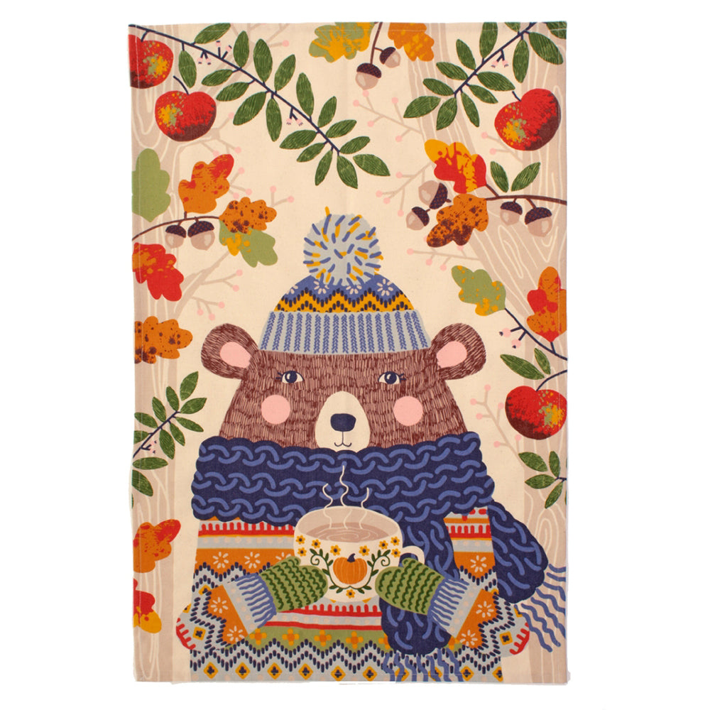 Ulster Weavers Autumn Bear Pumpkin Latte 100% Cotton Tea Towel