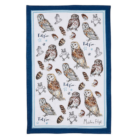 Madeleine Floyd Owls Linen Tea Towel by Ulster Weavers