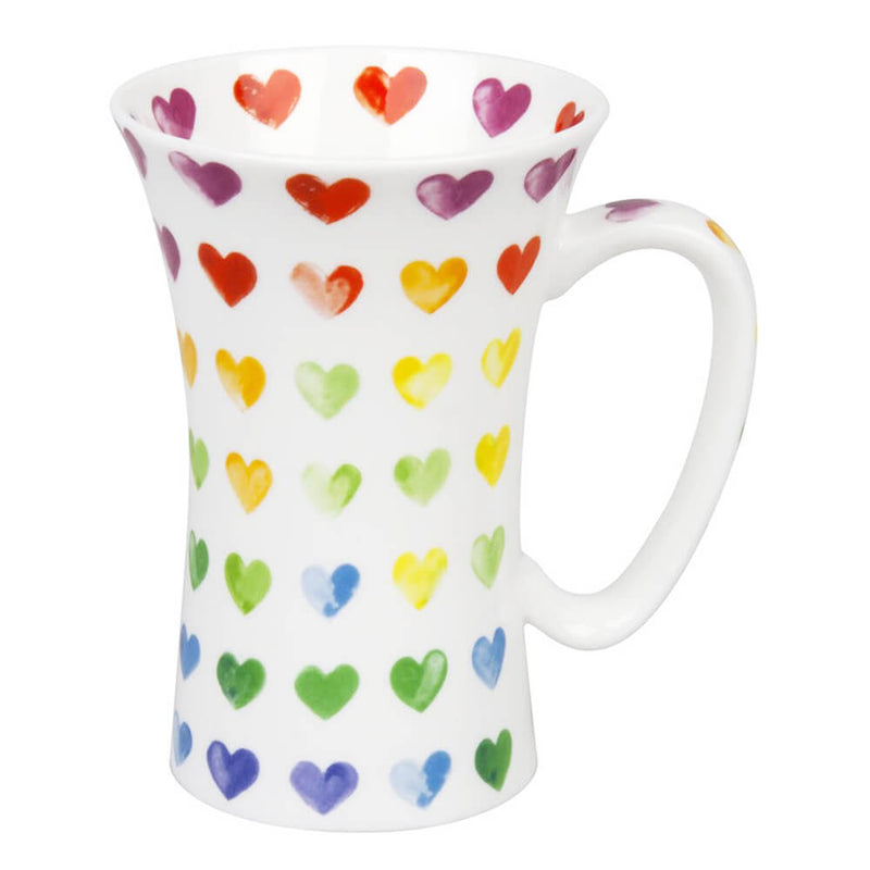 Konitz Watercolour Colourful Hearts Mega Mug Large Bone China 580ml