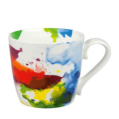 Koenitz Multi-Colour Flow Watercolour Mug Contemporary Bone China Cup