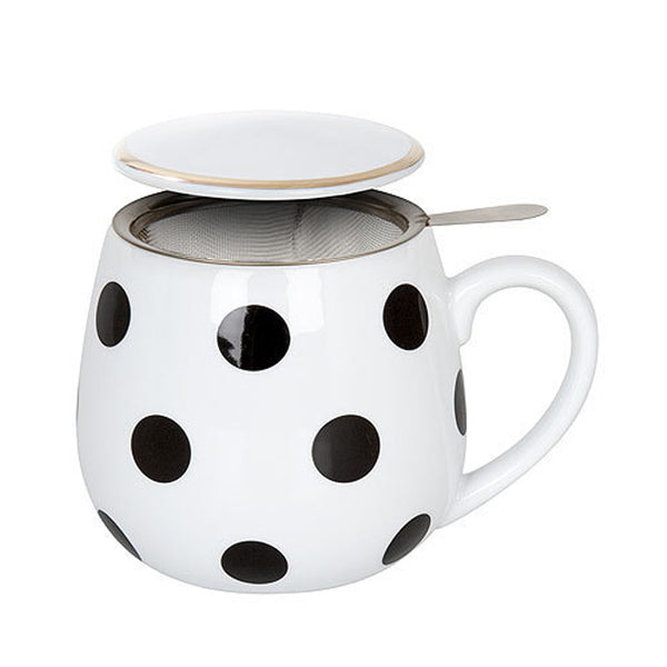 Black & White Dots Snuggle Tea Infuser Mug
