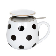 Konitz Snuggle Black & White Dots Tea Set Mug, Lid & Loose-Leaf Sieve