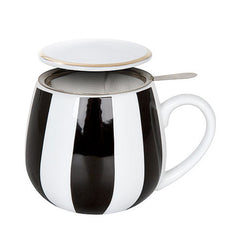 Konitz Black & White Stripes Tea Set Mug, Lid & Loose-Leaf Sieve