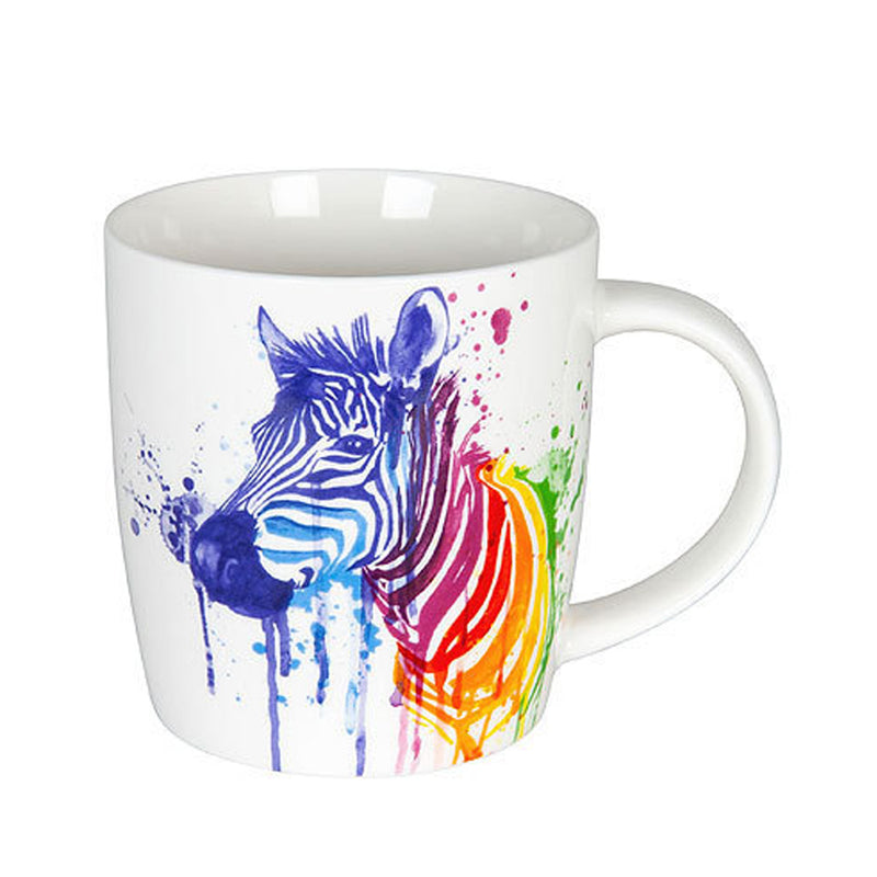 Konitz Watercolour Animals Rainbow Zebra Porcelain Coffee Cup 350ml